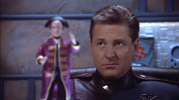 Sheridan, incredulous, as Londo rants about his action figure.
