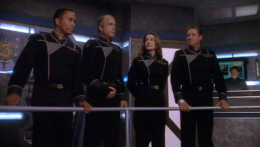 Franklin, Garibaldi, Ivanova and Sheridan in their new uniforms.