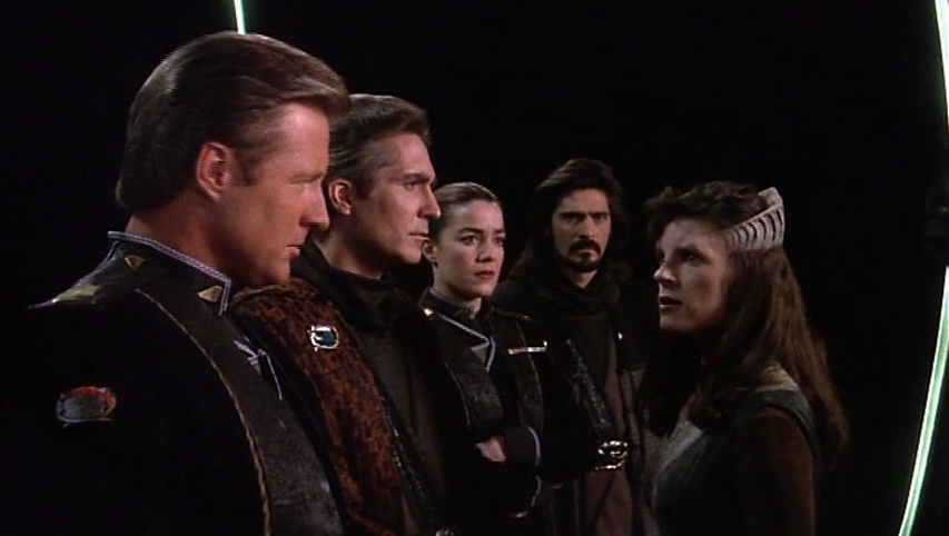 Sheridan, Sinclair, Ivanova, Marcus and Delenn on the White Star