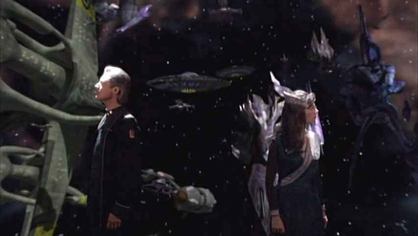 Sheridan and Delenn view the aftermath of their battle with the Shadows