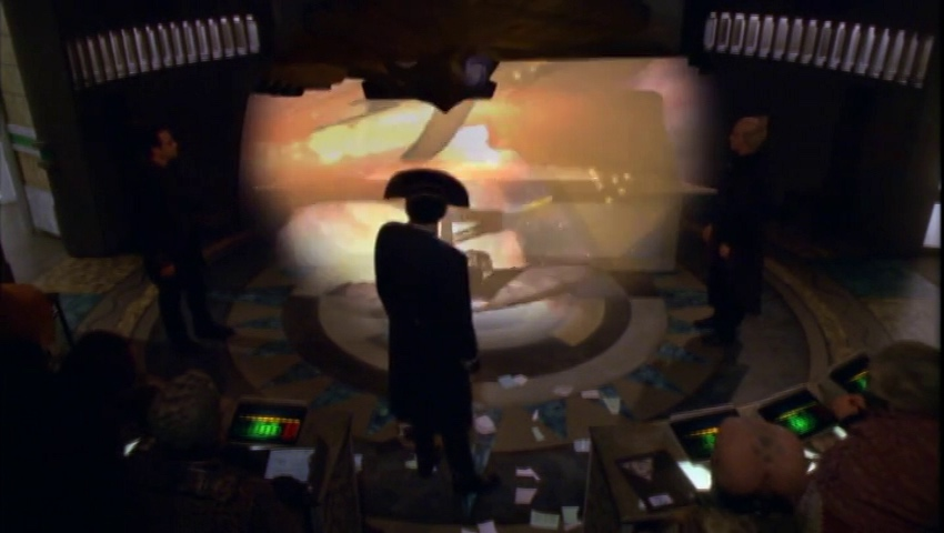 Londo and the council witness the Centauri attack on the Brakiri