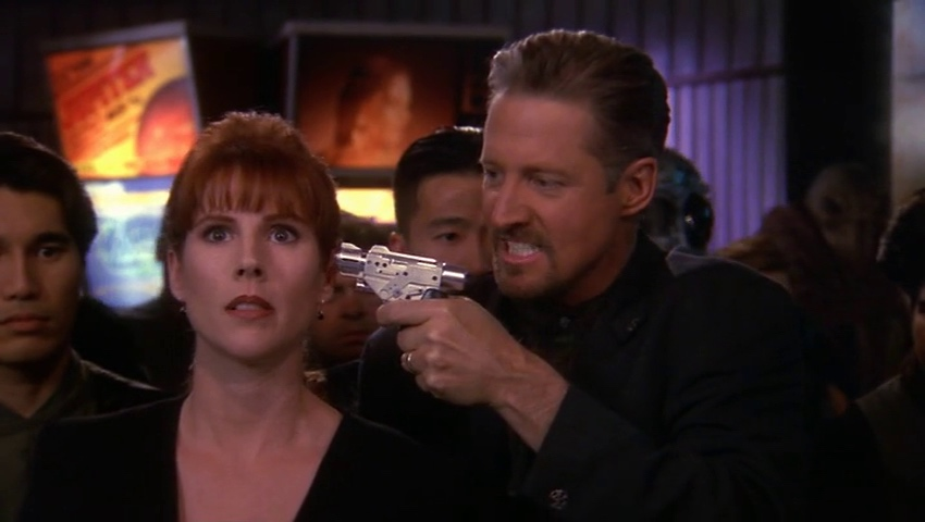 Sheridan demonstrates his immunity to Lyta's control of the Zocalo.